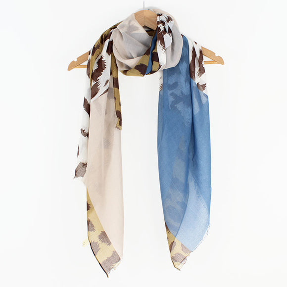 Abstract Leopard print cornflower blue scarf