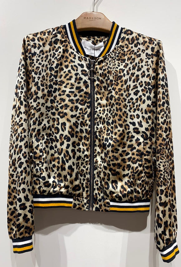 Madison Leopard Print Bomber ~ Natural
