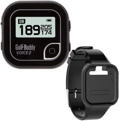 GolfBuddy Clip on Voice 2 with Silicon Wristband (Black)