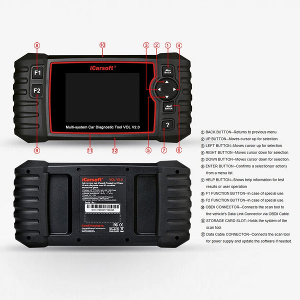 iCarsoft Auto Diagnostic Scanner VOL V2.0 for Volvo/SAAB with ABS Scan,Oil Reset, ABS Bleeding, Injector Coding ect