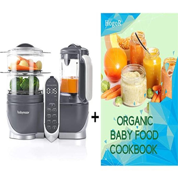 Babymoov Baby Cook Duo Baby Food Maker Steamer and Blender, Baby Food Maker for Infants and Toddlers 6 in 1 Baby Food Processor, Defroster, Sterlizer, Bundled with HogoR Organic Baby Food Cookbook
