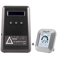 Dylos DC1100 Standard Indoor Air Quality Monitor, Home Testing Detector Kit, Laser Particle Counter (Black) Bundled with HogoR Humidity and Temperature Monitor Thermometer Sensor (White)