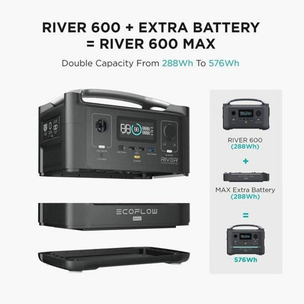 EF ECOFLOW River 600 Extra Battery, 288Wh Suitable for River 600 Solar Generator, Double Capacity, More Power, Backup Battery for Outdoor Camping RV
