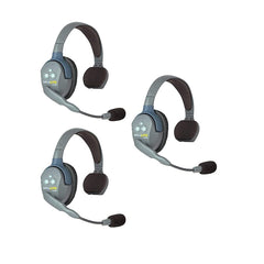 EARTEC UL3S UltraLITE Full Duplex Wireless Headset Communication for 3 Users - 3 Single Ear Headsets