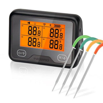 Inkbird Wi-Fi&Bluetooth Grill Thermometer IBBQ-4BW, Wireless BBQ Thermometer with 4 Probes, Timer, High/Low Temp Alarm, Digital Meat Thermometer for Smoker, Oven, Kitchen, Drum, Android&iOS
