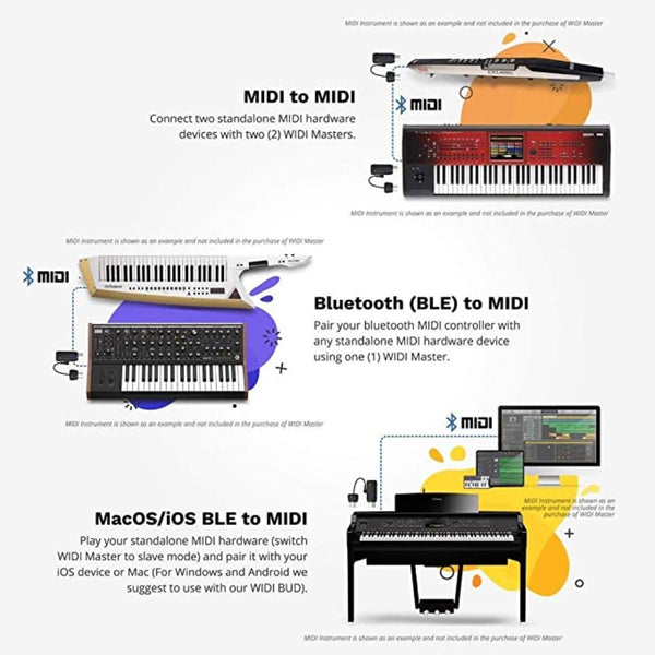 WIDI Master Bluetooth MIDI Wireless Adapter 5-PIN DIN Interface Converter for All MIDI Device Brands