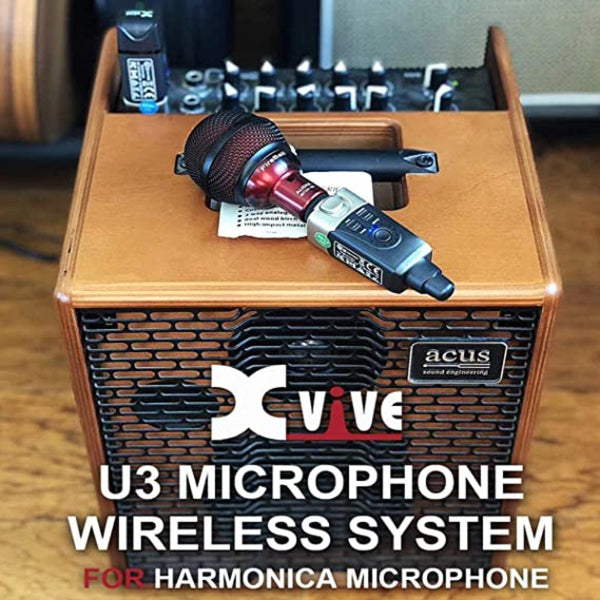 Xvive U3 Plug-on Condenser Microphone Wireless microphone xlr transmitter and receiver System, Audio Mixer, PA System, Microphone System for a Wide Range of Applications Bundled with HogoR guitar pick