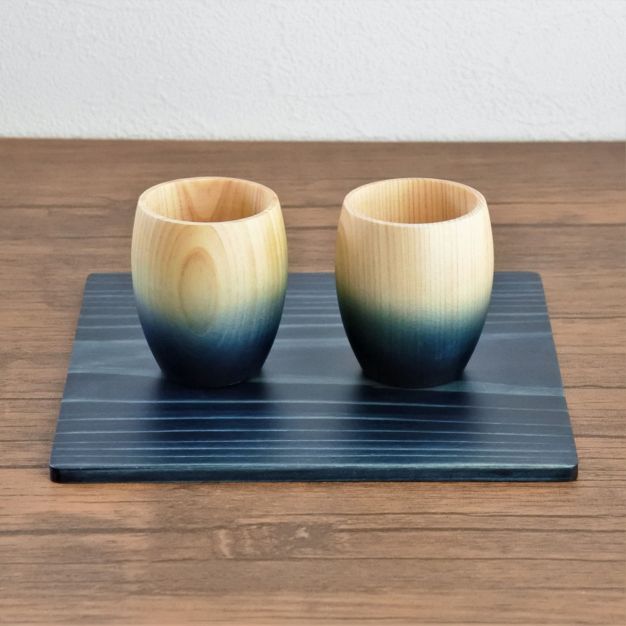 Aizome (Indigo) Wood Plate 150x150mm - 2pcs Set