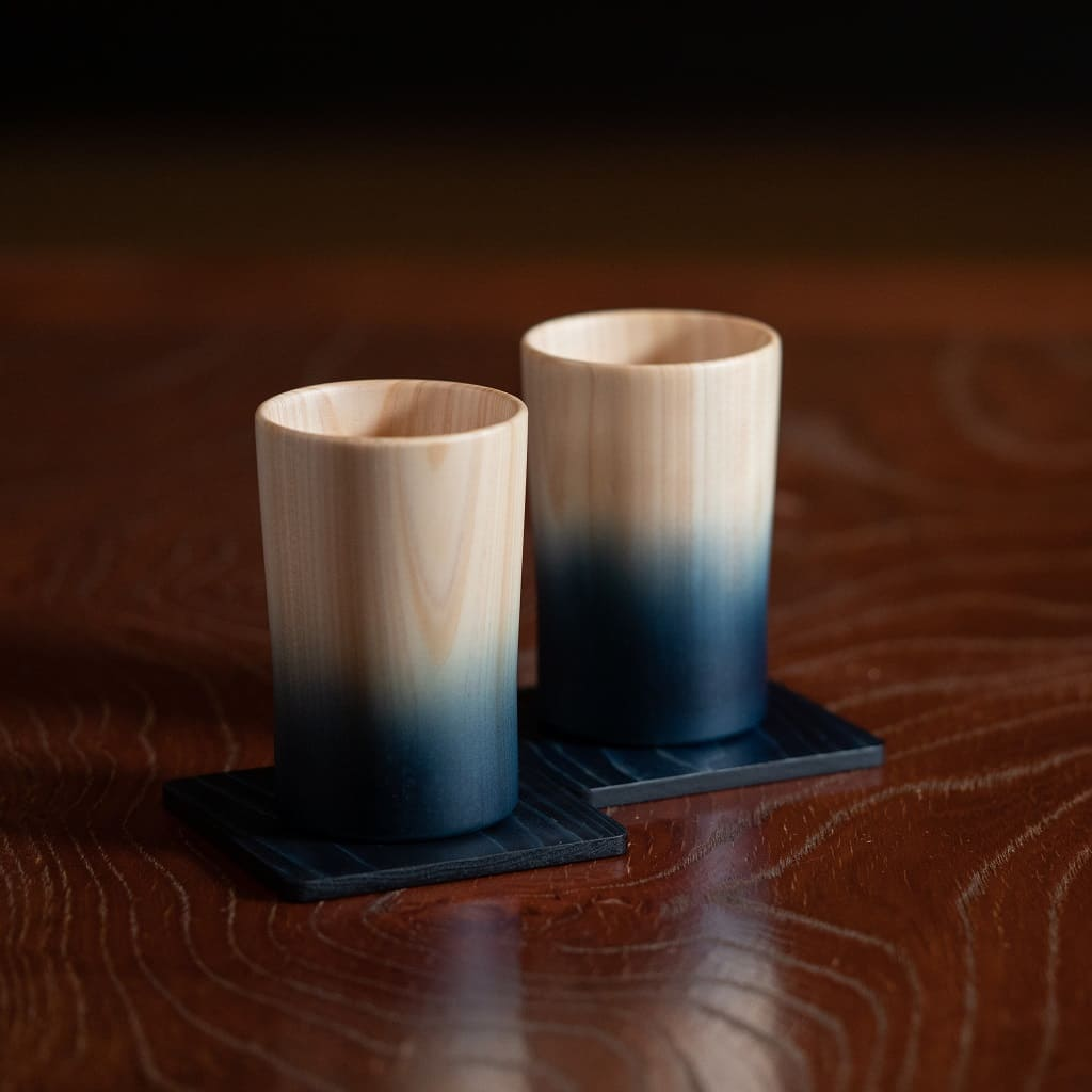 Wood Hinoki Pair Cups (Indigo Japan Blue)
