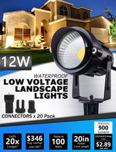 Load image into Gallery viewer, SUNVIE 12W Low Voltage LED Landscape Lights with Connectors, Outdoor 12V Super Warm White (900LM) Waterproof Garden Pathway Lights Wall Tree Flag Spotlights with Spike Stand (10 Pack with Connector)