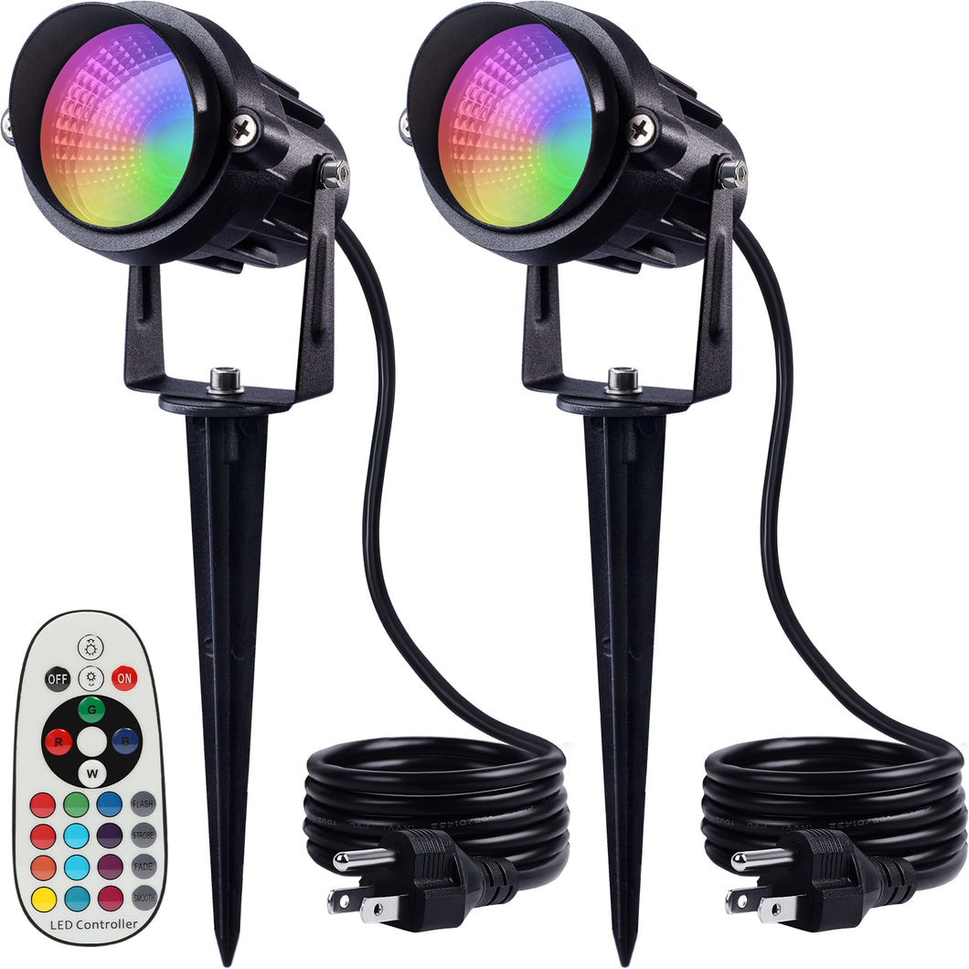 SUNVIE Outdoor Halloween Decorations Spotlights 6W RGB Color Changing LED Landscape Lights 120V Remote Control Landscape Lighting for Party Garden Yard Decoration Spot Lights with US 3-Plug (2 Pack)