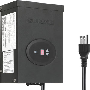 SUNVIE 300W Low Voltage Transformer for Landscape Lighting with Timer and Photocell Sensor Waterproof Power Supply for Landscape Lights Path Lights Outdoor Spotlight 120V AC to 12V /14V AC(ETL Listed)