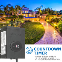 Load image into Gallery viewer, SUNVIE 300W Low Voltage Transformer for Landscape Lighting with Timer and Photocell Sensor Waterproof Power Supply for Landscape Lights Path Lights Outdoor Spotlight 120V AC to 12V /14V AC(ETL Listed)