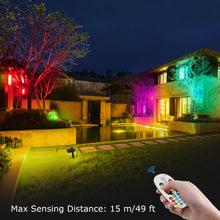 Load image into Gallery viewer, SUNVIE Outdoor Halloween Decorations Spotlights 6W RGB Color Changing LED Landscape Lights 120V Remote Control Landscape Lighting for Party Garden Yard Decoration Spot Lights with US 3-Plug (2 Pack)