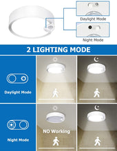 Load image into Gallery viewer, SUNVIE Motion Sensor Ceiling Light Battery Operated Indoor/Outdoor LED Battery Powered Ceiling Light 300LM for Hallway Bathroom Stairs Basement Warehouse with Photocell Sensor ON/Off