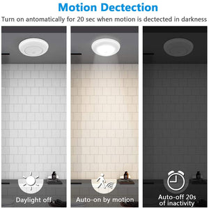 Motion Sensor Ceiling Light Battery Operated, SUNVIE Wireless Motion Sensing Activated LED Closet Light Warm White Indoor for Stairs, Hallway, Garage, Bathroom, Cabinet (Bright White, 2 Pack)