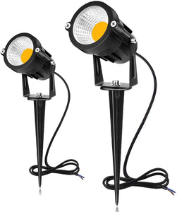 SUNVIE 12W LED Landscape Lighting Low Voltage (AC/DC 12V) Waterproof Garden Pathway Lights Super Warm White (900LM) Walls Trees Flags Outdoor Spotlights with Spike Stand (2 Pack)