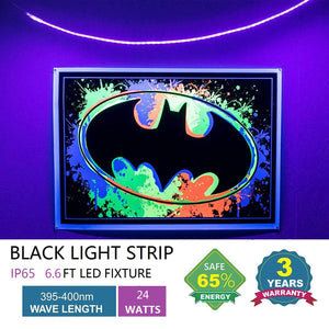 SUNVIE LED Black Light Strip, 60 Watts 16.4Ft/5M 2835 SMD 300LEDs Flexible Waterproof IP65 LED Light Strip with DC 24V 3A Power Supply