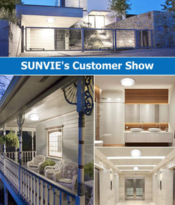 SUNVIE Motion Sensor Ceiling Light Battery Operated Indoor/Outdoor LED Battery Powered Ceiling Light 300LM for Hallway Bathroom Stairs Basement Warehouse with Photocell Sensor ON/Off