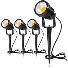 Load image into Gallery viewer, SUNVIE 12W LED Landscape Lighting Low Voltage (AC/DC 12V) Waterproof Garden Pathway Lights Super Warm White (900LM) Walls Trees Flags Outdoor Spotlights with Spike Stand (4 Pack)