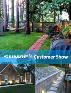 SUNVIE 12W Low Voltage LED Landscape Lights with Connectors, Outdoor 12V Super Warm White (900LM) Waterproof Garden Pathway Lights Wall Tree Flag Spotlights with Spike Stand (10 Pack with Connector)