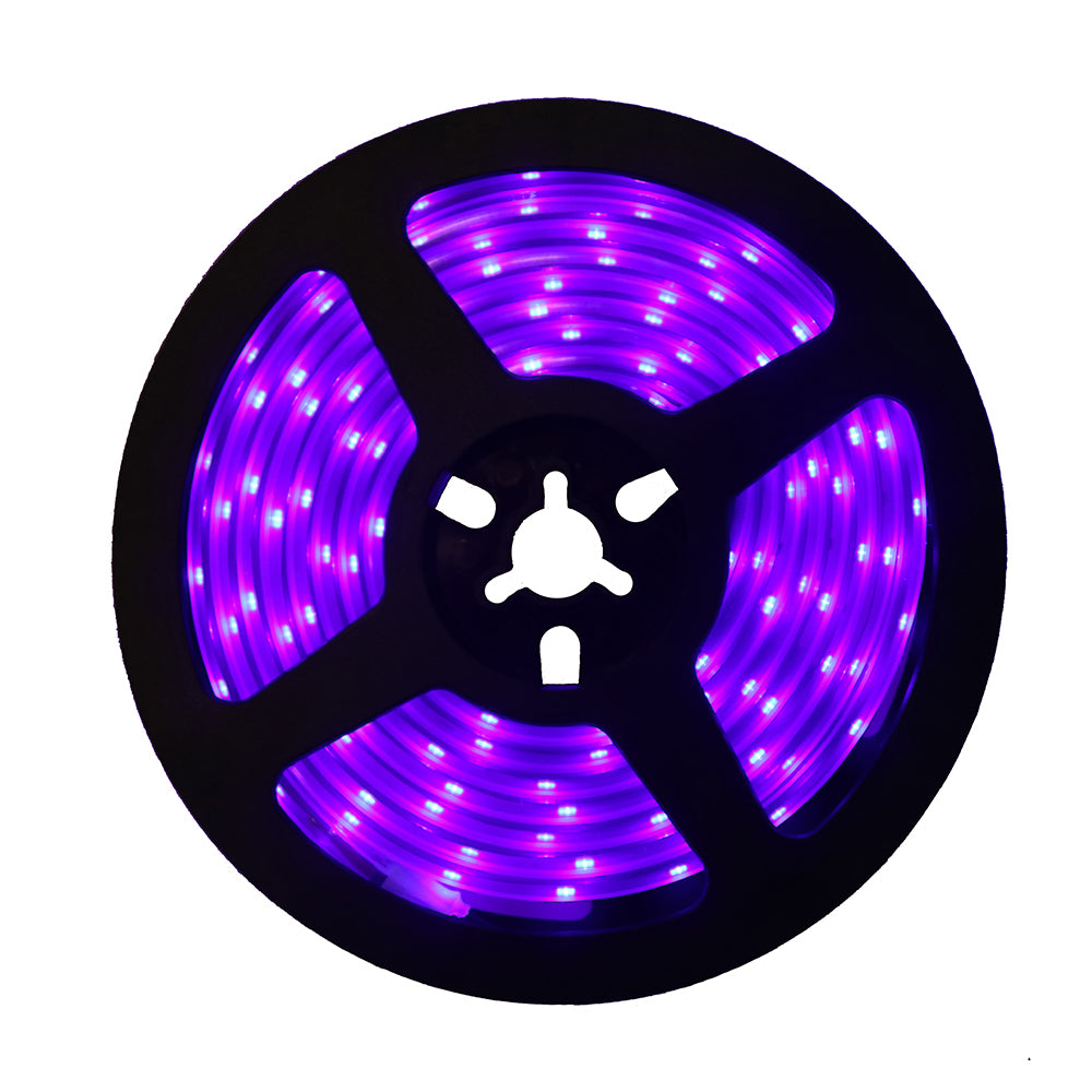 SUNVIE LED Black Light Strip, 24 Watts 6.6Ft/2M 2835 SMD 120LEDs Flexible Waterproof IP65 LED Light Strip with DC 12V 2A Power Supply