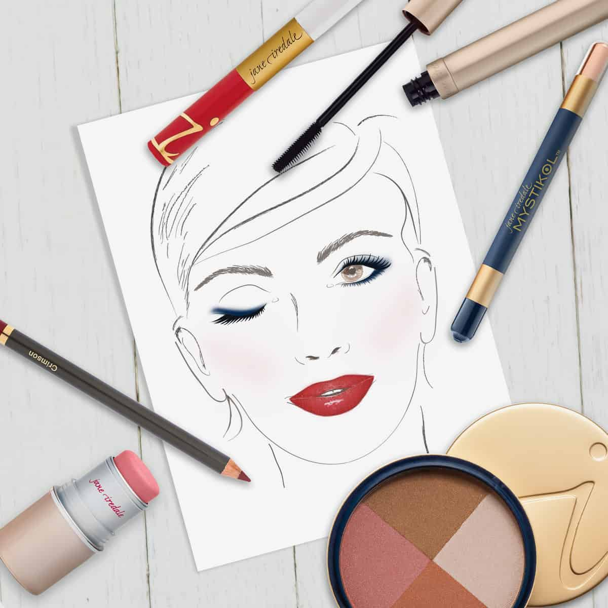 memorial day makeup look on illustration of woman