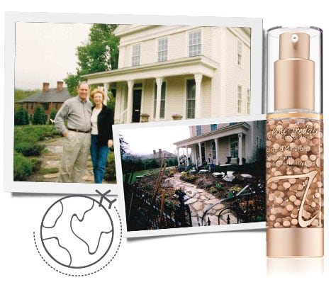 Jane and Bob stand outside of their home and a picture of our Liquid Minerals Foundation