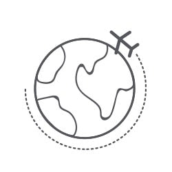 A globe with an airplane flying around it