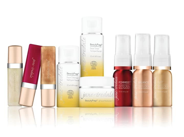 jane iredale holiday makeup collection of mini mineral lip glosses, natural skin care and organic hydration sprays
