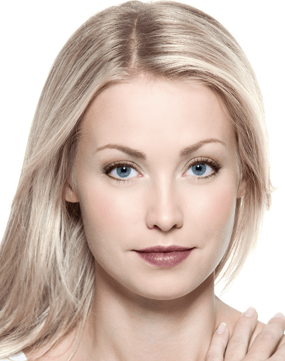 woman wearing light makeup with dark lipstick color