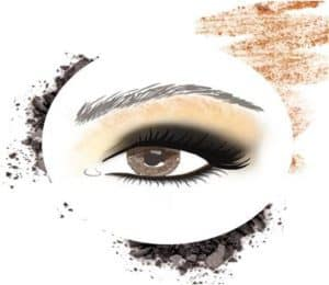 eyeshadow sketch with black and tan and red accents