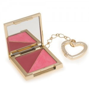 pink blushes in compact on keychain