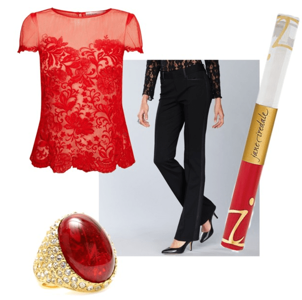 Sassy red outfit and makeup inspiration board