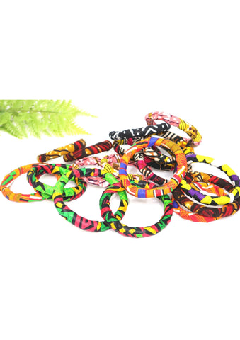 African Fabric Wrapped Bracelets