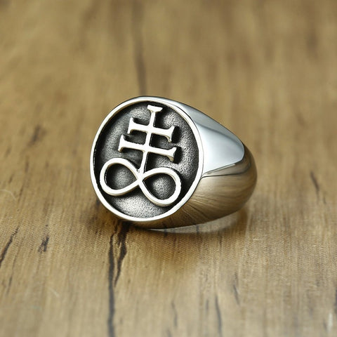 The Leviathan Cross Symbol Signet Ring for Men Stainless Steel