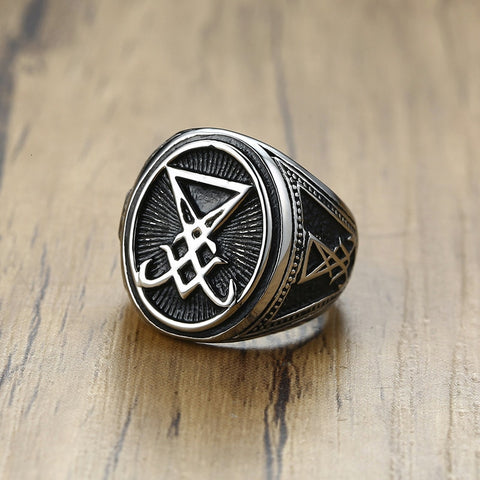 SOLID STAINLESS STEEL SIGIL OF LUCIFER SATANIC SEAL OF SATAN SIGNET RING FOR MEN JEWELRY