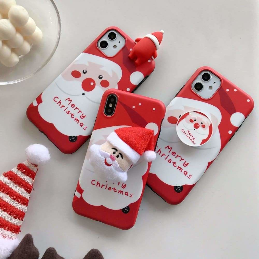 3D CUTE CARTOON CHRISTMAS SANTA CLAUS PHONE CASE FOR IPHONE