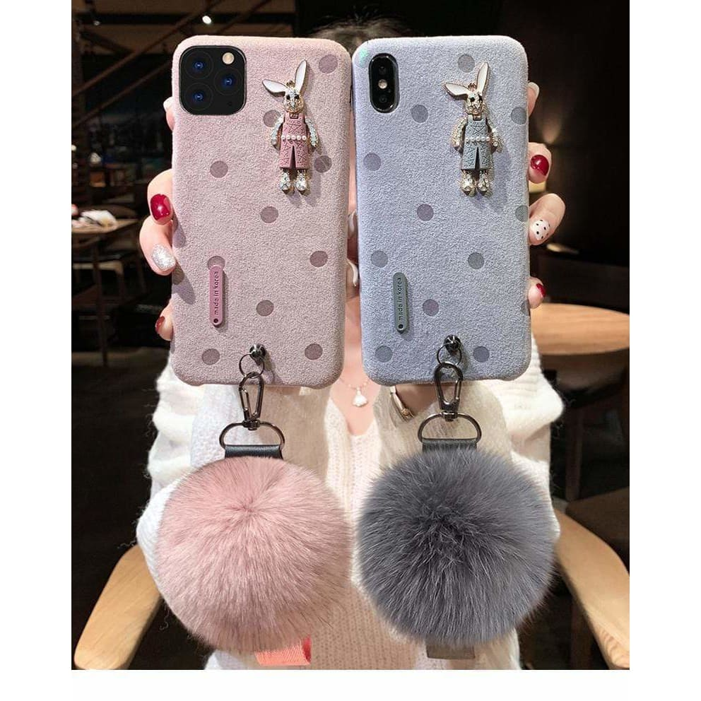 Best Luxury Style  Flannel Rabbit Silica Gel Designer iPhone Case For Iphone 11 Pro Max X XS XS MAX XR 7 8 Plus - AshleySale