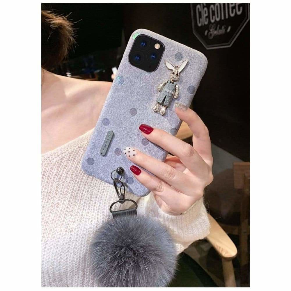 BEST LUXURY STYLE FLANNEL RABBIT SILICA GEL DESIGNER IPHONE
