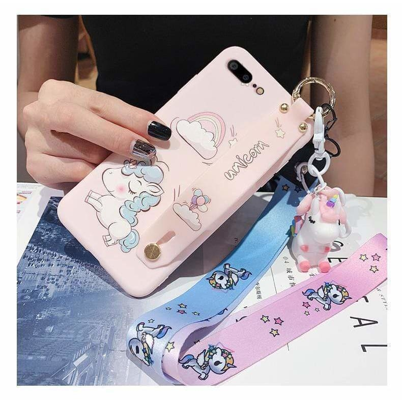 Best Luxury Style Unicorn Wristband Silica Gel Designer iPhone Case For Iphone 11 Pro Max X XS XS MAX XR 7 8 Plus - AshleySale
