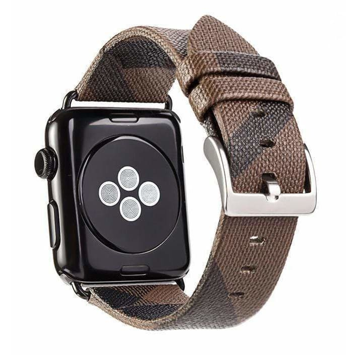 Burberry Style Plaid Leather Apple Watch Band Strap For Series 4/3/2/1 - AshleySale