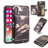Camouflage Army Camo Flip Wallet Card Holder Case for iPhone Xs max Xr - AshleySale