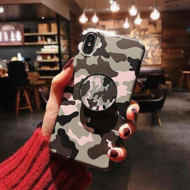 Camouflage Army Pink Matte Silicone Designer iPhone Case Pop Socket - AshleySale