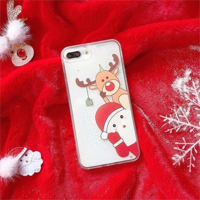 Cartoon Santa Claus Elk Phone Case For iPhone 11Pro Max XS Max Christmas Quicksand Giltter Cover For iPhone 11 XR 8 7 6 6S Plus - AshleySale