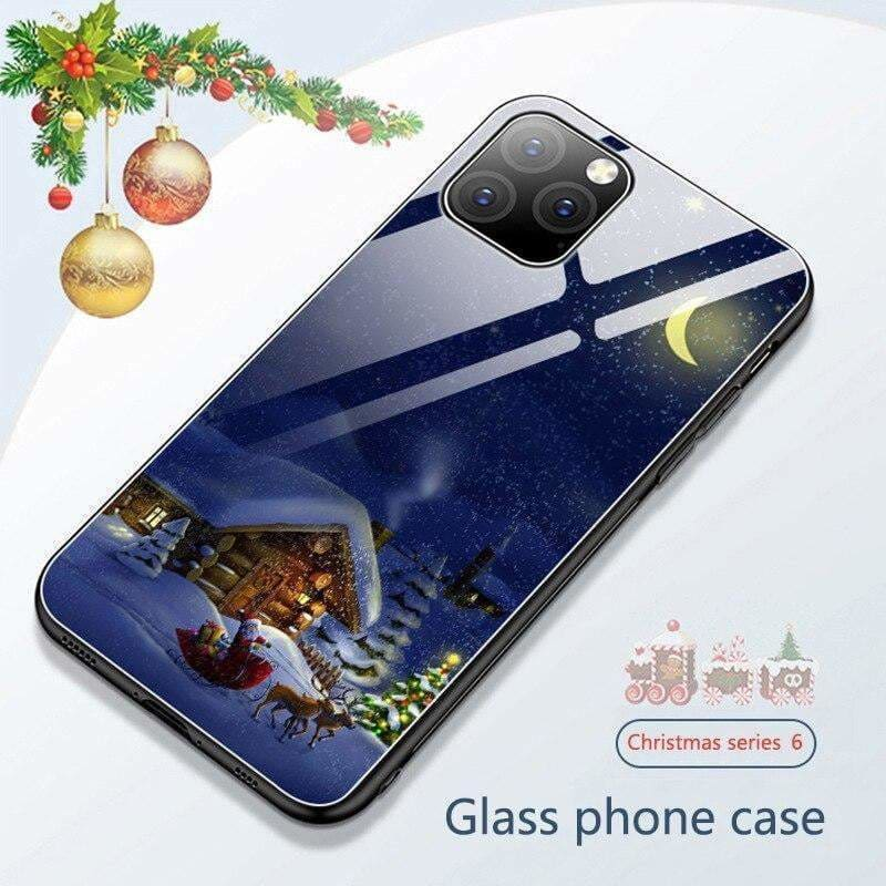Christmas Cartoon Glass Case for iPhone 11 Pro Max on iPhone XR 3D Santa Claus Phone Case Cover for iPhone X XS Max 11Pro - AshleySale