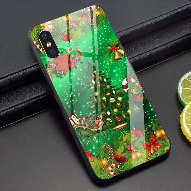 Christmas Tree Phone Cover for iPhone X Case 5 5S SE 6 6S 7 8 Plus Xs Max XR 11 Pro Tempered Glass - AshleySale