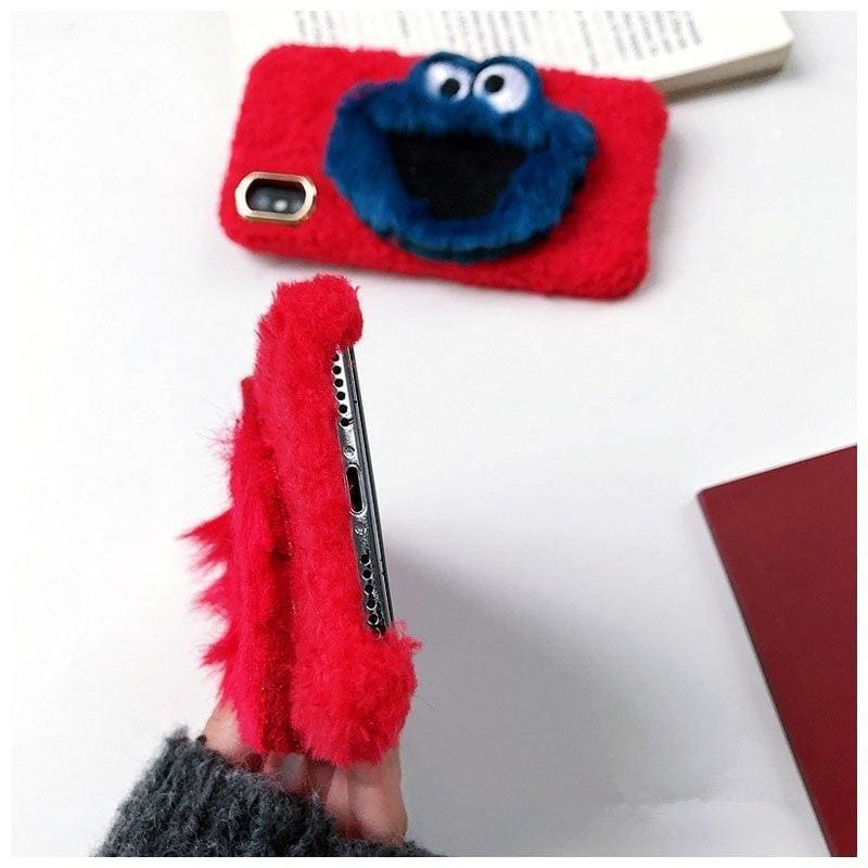 Cute 3D Plush Sesame Street Elmo Cookie Soft Fur Designer iPhone Case - AshleySale