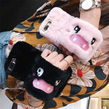 Cute 3D Rabbit Hairy Warm Fur Plush Pig Wristband Strap iPhone Case - AshleySale