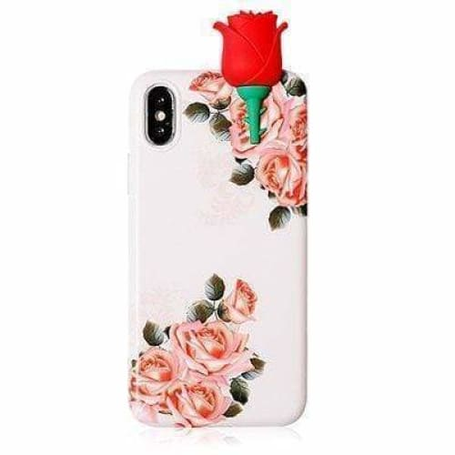 Cute 3D Rose Flowers Glossy Soft Silicone Designer iPhone Case - AshleySale